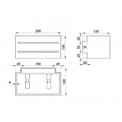 Sieninis šviestuvas LOBO MAXI 2 juodas - 4 - 45,83€