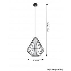 Pakabinamas šviestuvas DEMI juodas - 4 - 49,46€