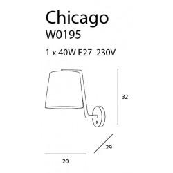 Sieninis šviestuvas CHICAGO CHROM su baltu gaubtu - 3 - 58,60€