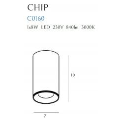 Lubinis šviestuvas CHIP baltas 3000K 8W - 5 - 28,14€