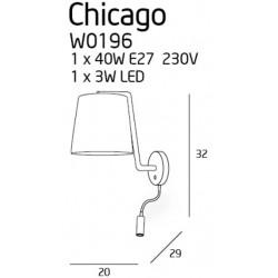 Sieninis šviestuvas CHICAGO LED baltas su baltu gaubtu - 3 - 88,60€