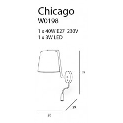 Sieninis šviestuvas CHICAGO LED CHROM su baltu gaubtu - 3 - 88,60€
