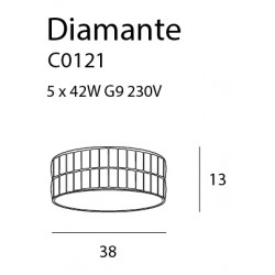 Plafonas DIAMANTE mažas 38 cm - 2 - 225,34€