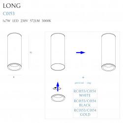 Lubinis šviestuvas LONG baltas 7W - 6 - 36,51€