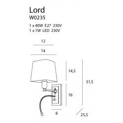 Sieninis šviestuvas LORD - 3 - 103,72€