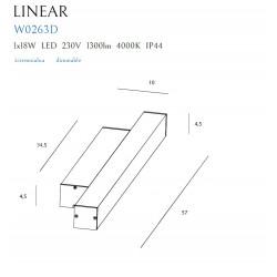 Sieninis šviestuvas LINEAR IP44 WHITE, 18W 4000K DIM - 2 - 131,16€