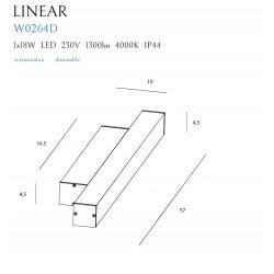 Sieninis šviestuvas LINEAR IP44 BLACK, 18W 4000K DIM - 2 - 131,16€