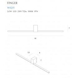 Sieninis šviestuvas FINGER ROUND 60 cm baltas  IP54 - 4 - 165,12€