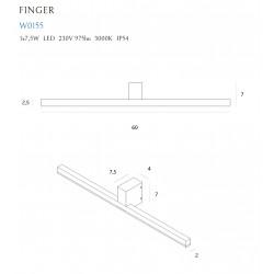 Sieninis šviestuvas FINGER 60 cm baltas IP54 - 4 - 168,83€