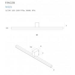Sieninis šviestuvas FINGER 60 cm juodas  IP54 - 3 - 168,83€