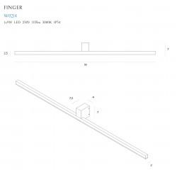 Sieninis šviestuvas FINGER 90 cm baltas IP54 - 4 - 185,35€