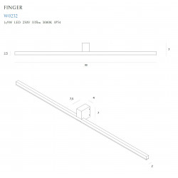 Sieninis šviestuvas FINGER 90 cm juodas  IP54 - 3 - 185,35€