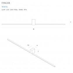 Sieninis šviestuvas FINGER ROUND 90 cm baltas IP54 - 3 - 185,35€