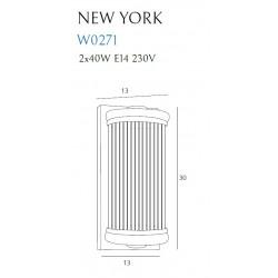 Sieninis šviestuvas NEW YORK žalvario - 3 - 197,67€