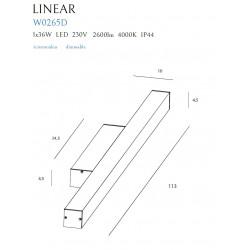 Sieninis šviestuvas LINEAR IP44 WHITE, 36W 4000K DIM - 2 - 199,07€