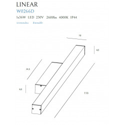 Sieninis šviestuvas LINEAR IP44 BLACK , 36W 4000K DIM - 2 - 199,07€