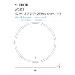 Apšviestas veidrodis Ø 80 cm, IP44, DIM - 6 - 388,13€