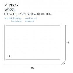 Apšviestas veidrodis 118x74 cm, IP44, DIM - 4 - 462,78€