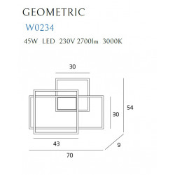 Sieninis šviestuvas LED GEOMETRIC baltas - 3 - 600,68€