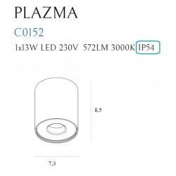 Plafonas PLAZMA baltas IP54 - 3 - 72,09€