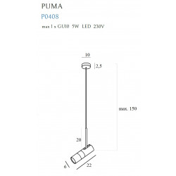 Pakabinamas šviestuvas PUMA 1 GU10 - 3 - 82,09€