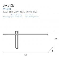 Sieninis šviestuvas SABRE 61 cm juodas IP23 - 4 - 99,99€