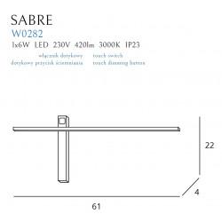 Sieninis šviestuvas SABRE 61 cm baltas IP23 - 3 - 99,99€