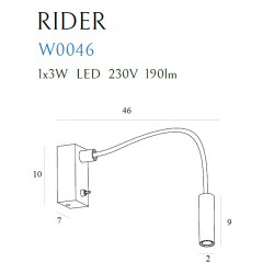 Sieninis šviestuvas RIDER juodas - 4 - 105,81€