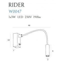 Sieninis šviestuvas RIDER WHITE - 4 - 105,81€