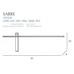 Sieninis šviestuvas SABRE 91 cm baltas - 3 - 111,62€