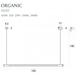 Pakabinamas šviestuvas ORGANIC HORIZON 100CM baltas - 2 - 217,21€
