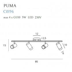 Lubinis šviestuvas PUMA 4 GU10 - 2 - 230,23€