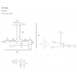 Pakabinamas šviestuvas PUMA LED 4x 7W BK/GD - 3 - 230,23€