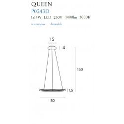 Pakabinamas šviestuvas QUEEN I COPPER, DIM - 2 - 278,83€