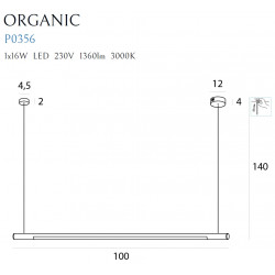 Pakabinamas šviestuvas ORGANIC HORIZON 100CM auksinė - 3 - 290,46€