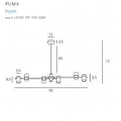 Pakabinamas šviestuvas PUMA 6 GU10 - 3 - 346,50€