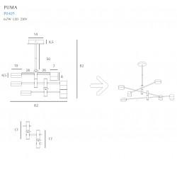 Pakabinamas šviestuvas PUMA LED 6x 7W BK/GD - 5 - 371,85€