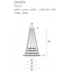 Pakabinamas šviestuvas QUEEN IV COPPER - 7 - 1348,57€