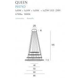 Pakabinamas šviestuvas QUEEN IV CHROM, DIM - 2 - 1391,81€