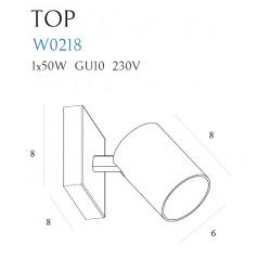 Sieninis šviestuvas TOP1 baltas - 2 - 27,90€