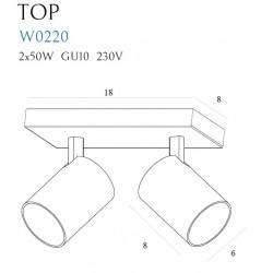 Sieninis šviestuvas TOP2 baltas - 2 - 50,00€