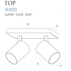 Sieninis šviestuvas TOP2 juodas - 2 - 50,00€