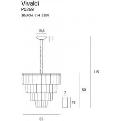 Pakabinamas šviestuvas VIVALDI aukso - 5 - 1096,48€