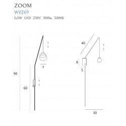 Sieninis šviestuvas ZOOM juodas, 3W LED - 5 - 180,00€