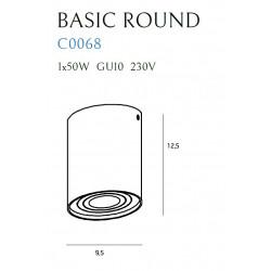 Lubinis šviestuvas BASIC ROUND juodas - 4 - 21,62€