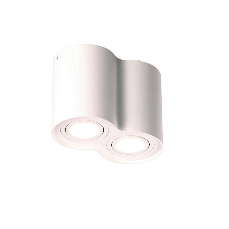 Lubinis šviestuvas BASIC ROUND baltas dvigubas - 1 - 49,30€