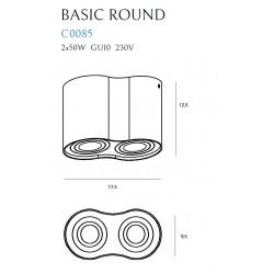 Lubinis šviestuvas BASIC ROUND baltas dvigubas - 3 - 49,30€