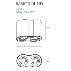 Lubinis šviestuvas BASIC ROUND juodas dvigubas - 4 - 49,30€