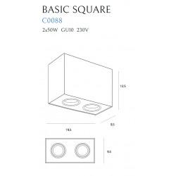 Lubinis šviestuvas BASIC SQUARE baltas dvigubas - 4 - 56,05€