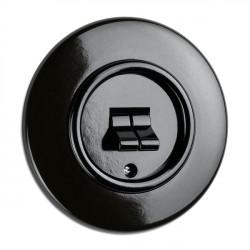 THPG juodas bakelito dvigubas jungiklis su apvaliu rėmeliu